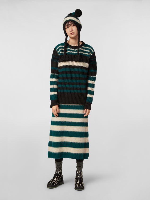 Marni WANDERING IN STRIPES crewneck knitted sweater in virgin and alpaca wool Woman - 5