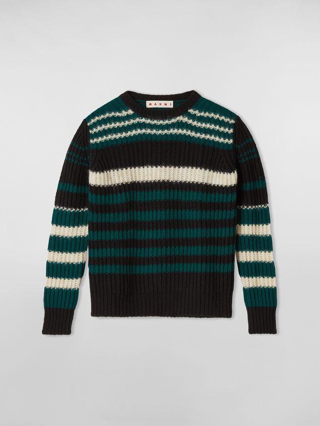 Marni WANDERING IN STRIPES crewneck knitted sweater in virgin and alpaca wool Woman - 2