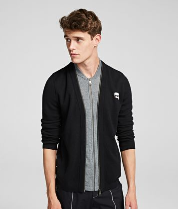 KARL LAGERFELD K/IKONIK ZIP-UP CARDIGAN