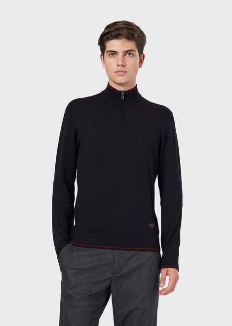 Rollneck sweater in plain knit with half zip