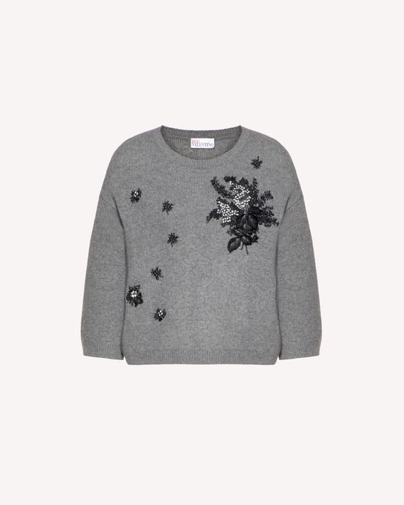 REDValentino Floral Tapestry embroidered  wool blend sweater