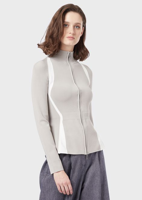 Stretch cardigan with full-length zipper and inlays
