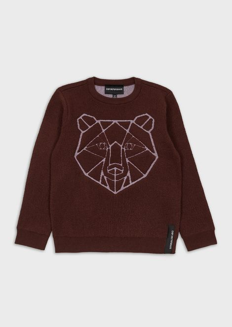 Mixed-wool sweater with jacquard animal motif