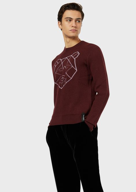 Wool-blend sweater with stylised jacquard pattern