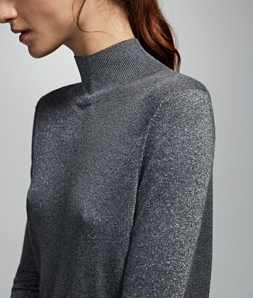 KARL LAGERFELD CUTOUT SPARKLE SWEATER
