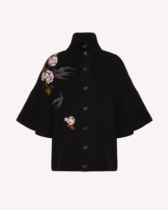 REDValentino Swallows and flowers embroidered wool cardigan