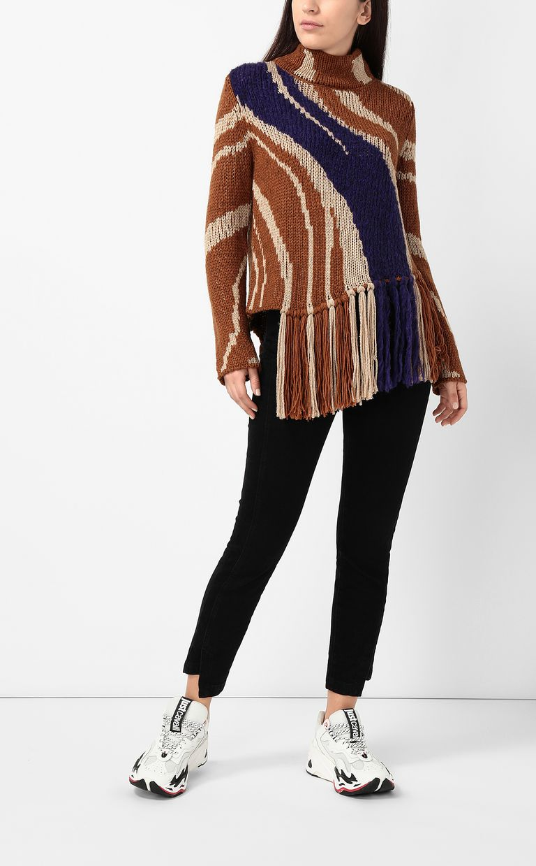 JUST CAVALLI Zebra-stripe sweater High neck sweater Woman d