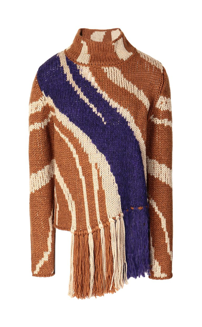 JUST CAVALLI Zebra-stripe sweater High neck sweater Woman f