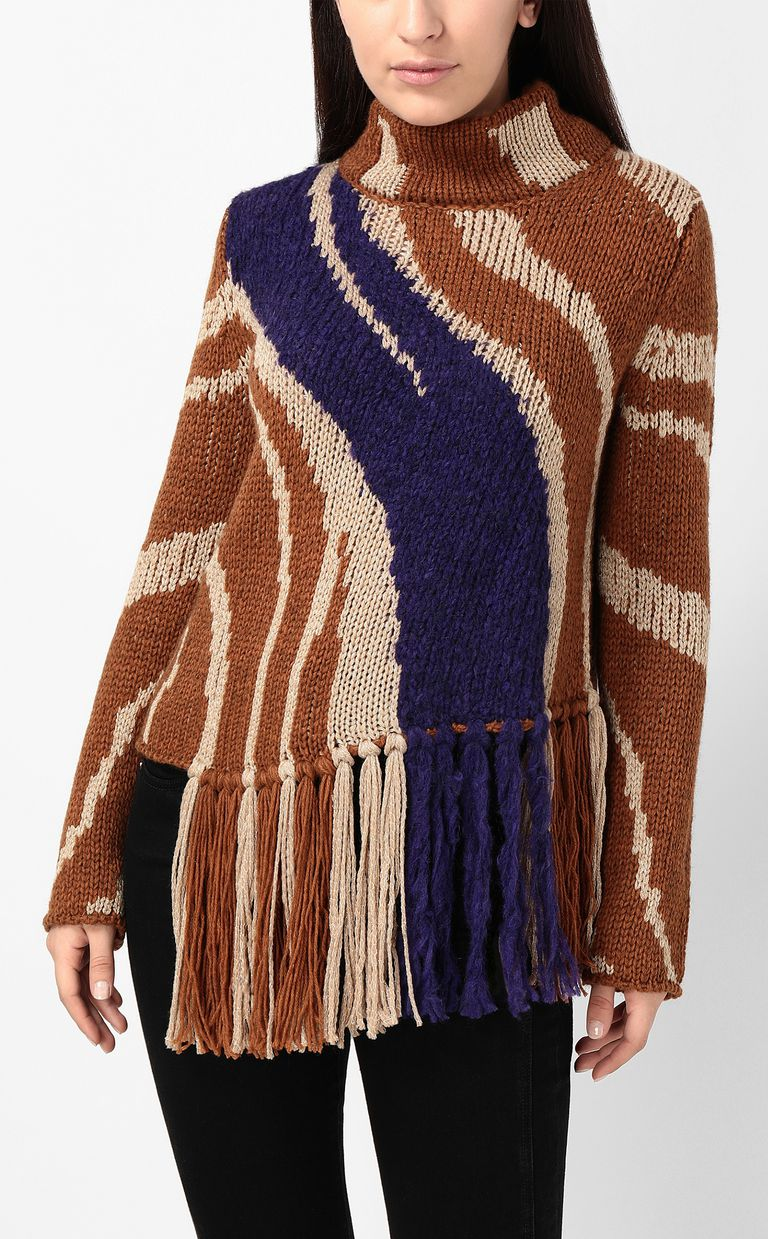 JUST CAVALLI Zebra-stripe sweater High neck sweater Woman r