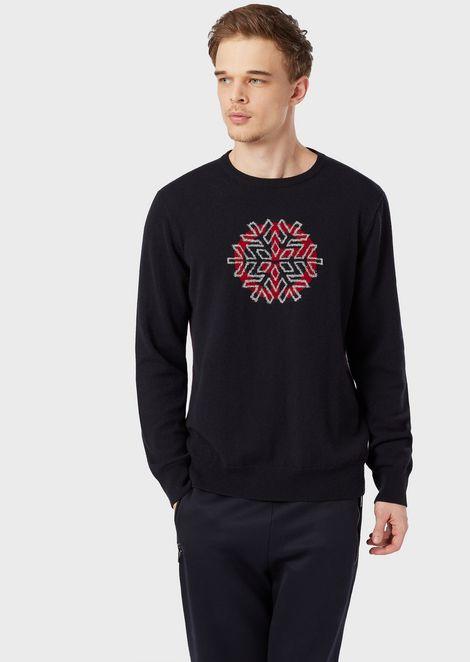 Crew neck sweater with snowflake inlay