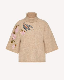 REDValentino Swallows and flowers embroidered alpaca sweater