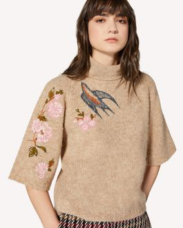 REDValentino Swallows and flowers embroidered alpaca jumper