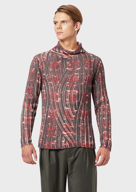 Alpaca wool rollneck sweater with all-over digital print