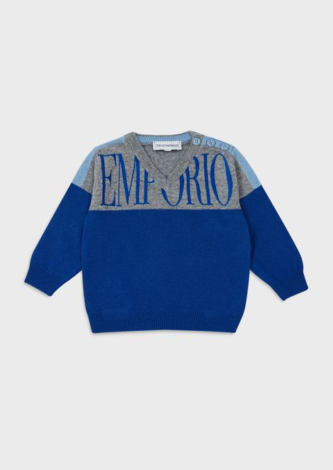 Two-toned logoed sweater
