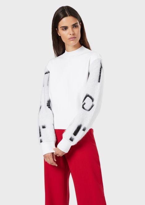 Pullover mit garzierten Ärmeln und Jacquard-Logo