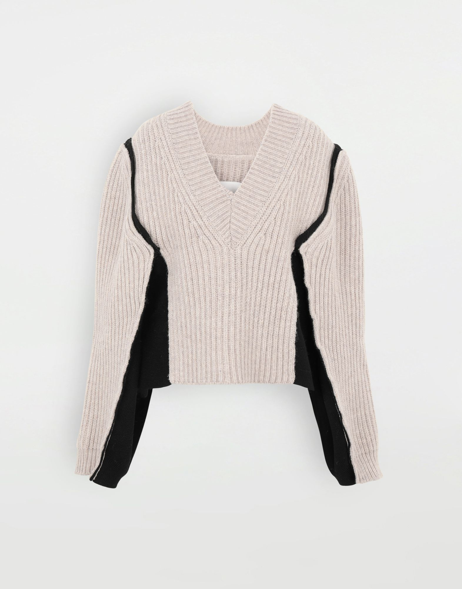 MAISON MARGIELA Grob gestrickter Pullover aus gerippter Wolle Pullover mit V-Ausschnitt Dame f