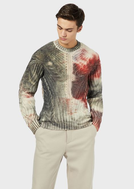 Sweater in cable-knit pure virgin wool with digital print