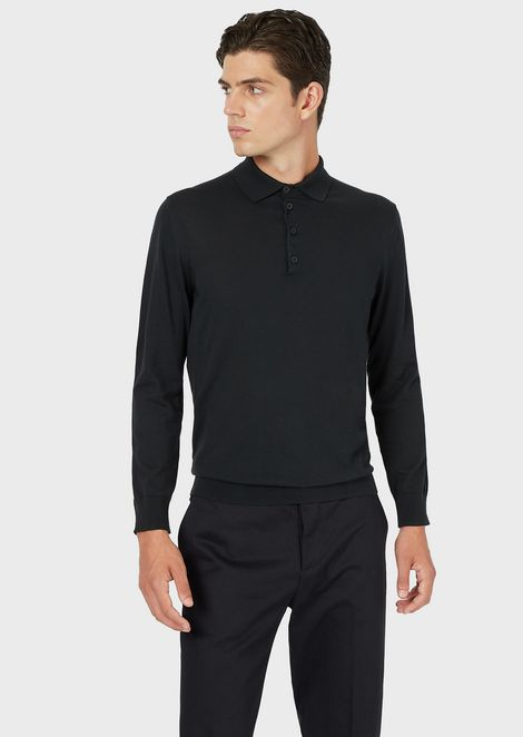 Mixed silk cotton sweater with polo collar