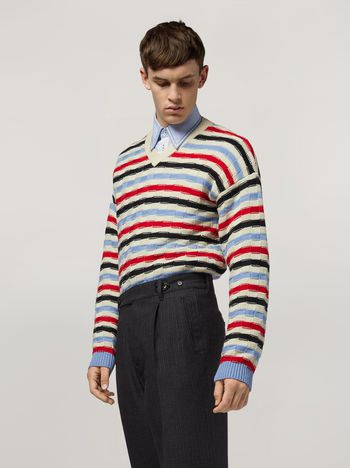 Marni Virgin wool striped knit Man f