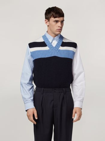 Marni Colour-block virgin wool knit Man f