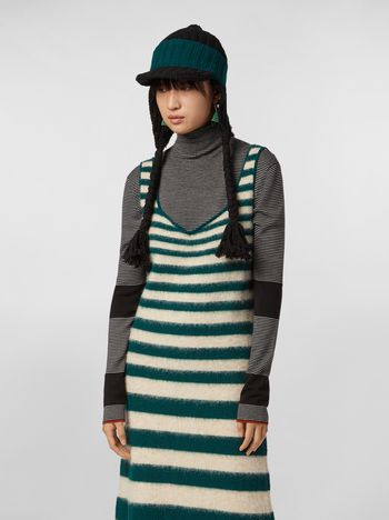 Marni WANDERING IN STRIPES thin-striped wool turtleneck knit black Woman f