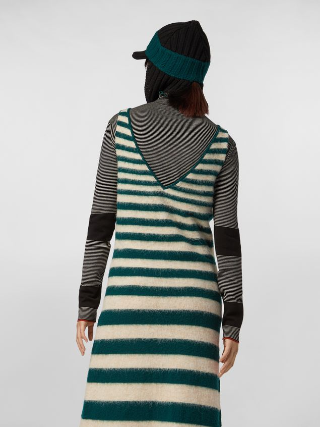 Marni WANDERING IN STRIPES thin-striped black wool turtleneck knit Woman