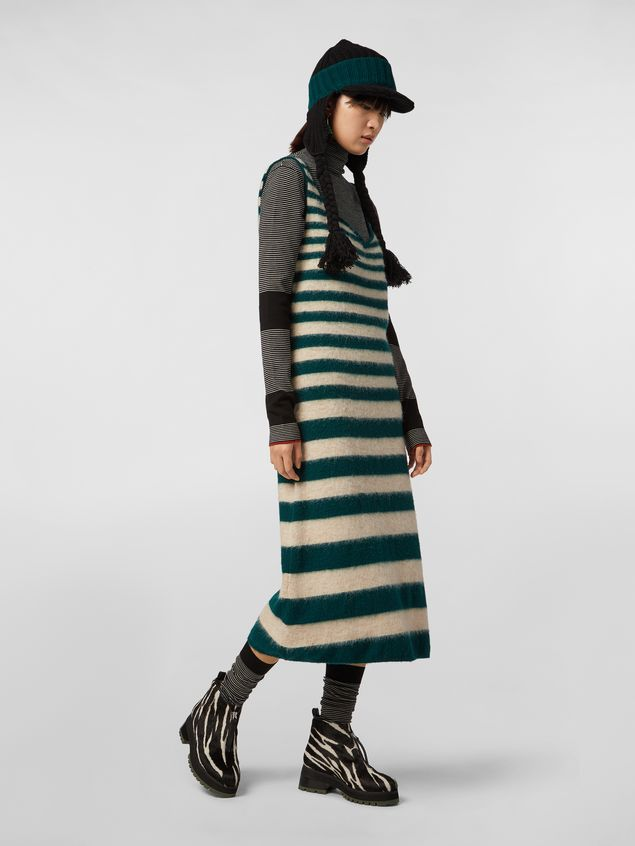 Marni WANDERING IN STRIPES thin-striped black wool turtleneck knit Woman - 5