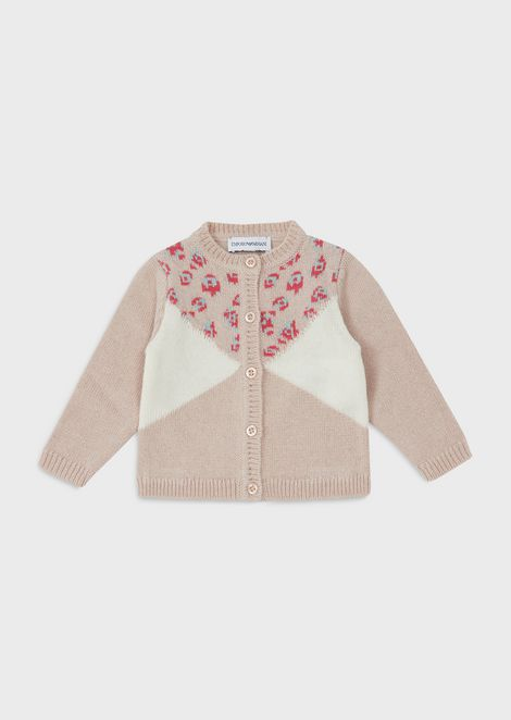 Cardigan with jacquard LeoFlower motif