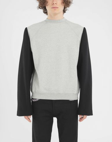 KNITWEAR Shadow bi-material sweatshirt Light grey