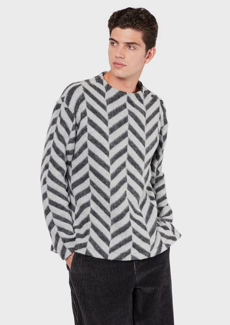 Wool-effect sweatshirt with jacquard motif