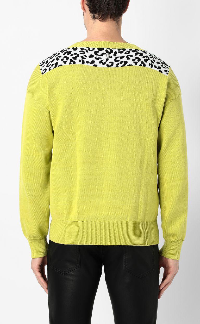JUST CAVALLI Leopard-intarsia pullover V-neck Man a