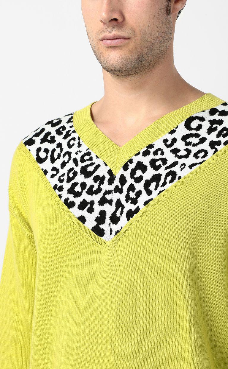 JUST CAVALLI Leopard-intarsia pullover V-neck Man e