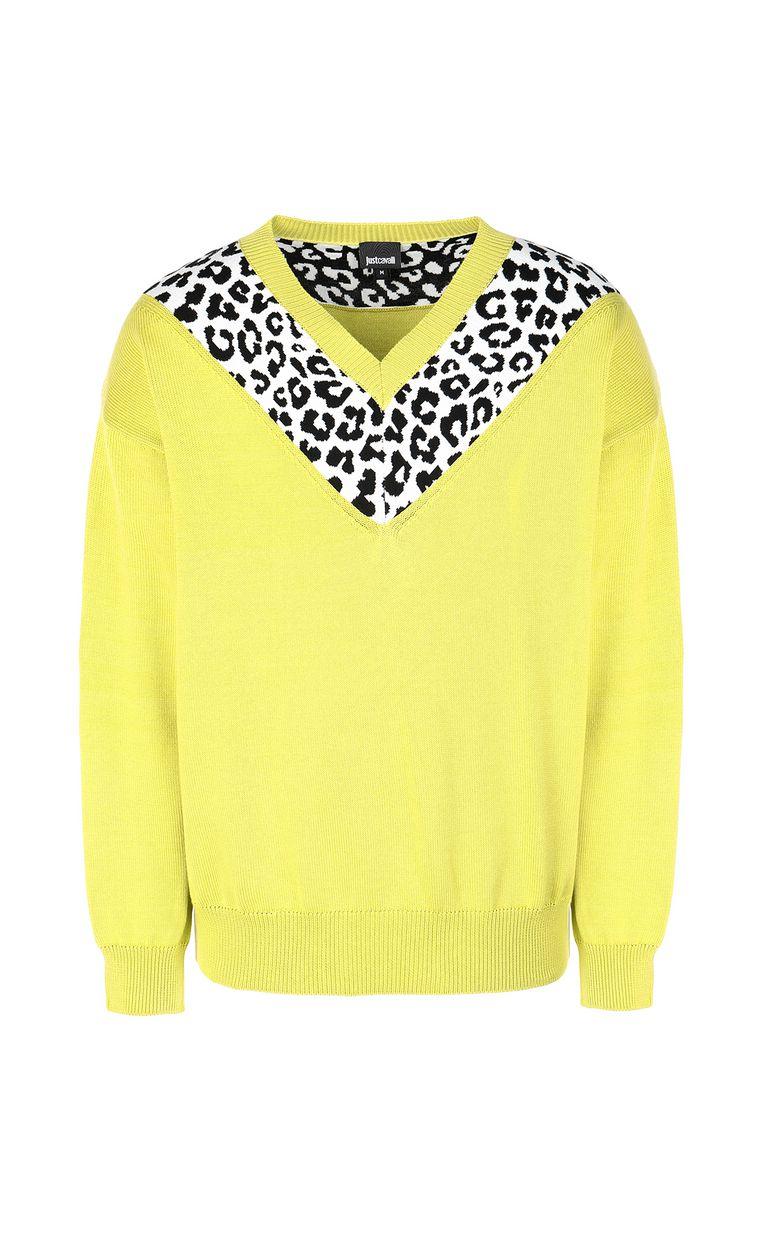 JUST CAVALLI Leopard-intarsia pullover V-neck Man f