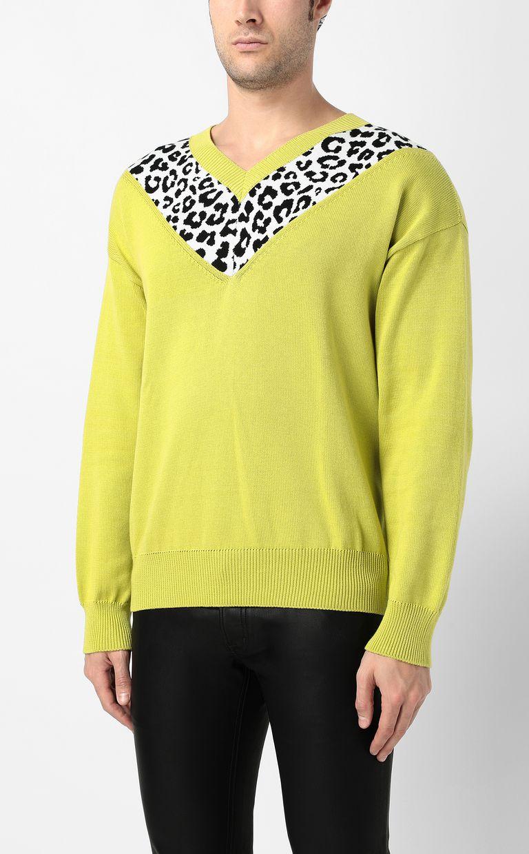 JUST CAVALLI Leopard-intarsia pullover V-neck Man r