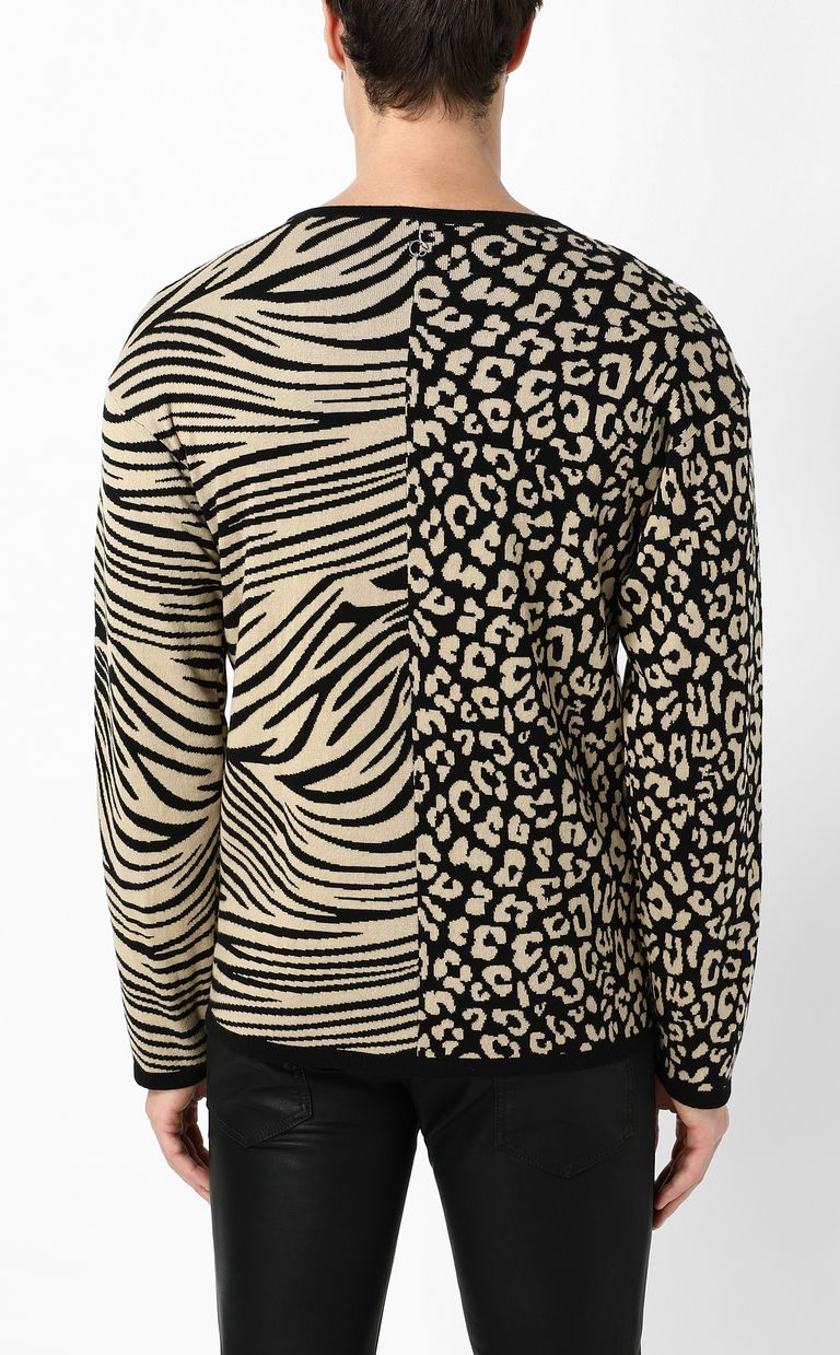 JUST CAVALLI Pullover with animal patterning Crewneck sweater Man a
