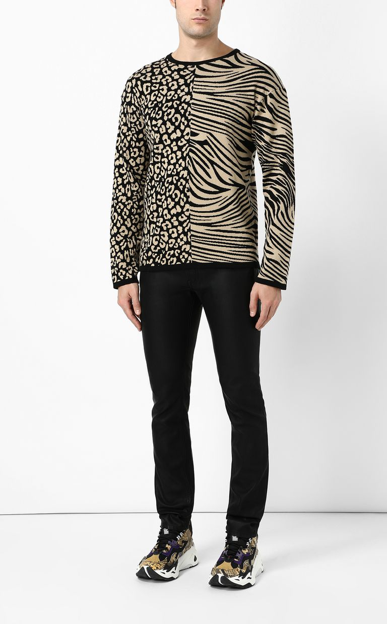 JUST CAVALLI Pullover with animal patterning Crewneck sweater Man d