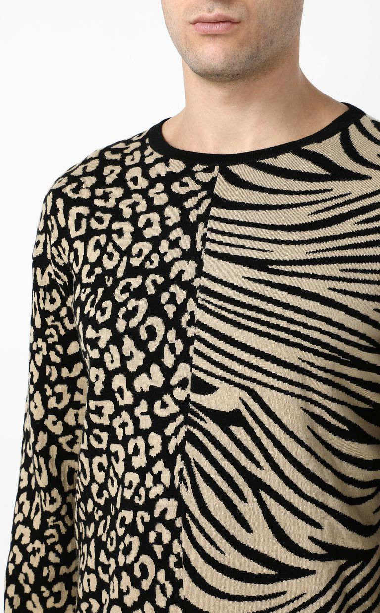 JUST CAVALLI Pullover with animal patterning Crewneck sweater Man e