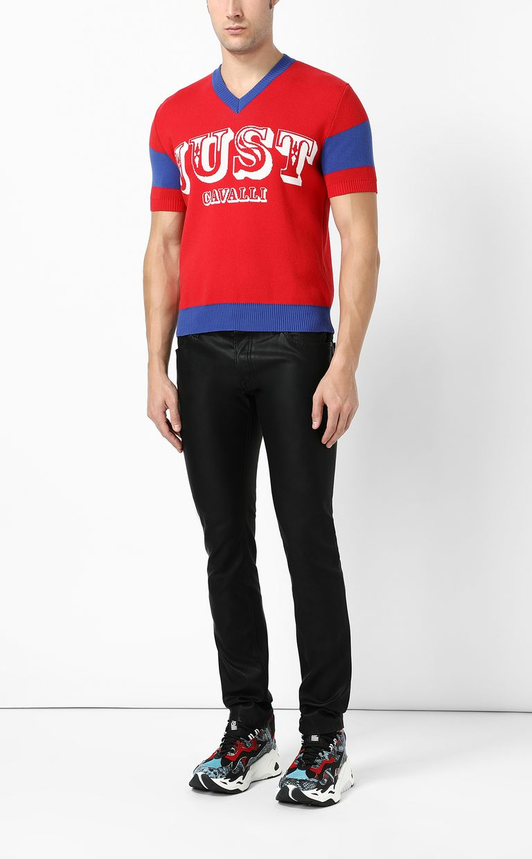 JUST CAVALLI Pullover with logo Short sleeve sweater Man d