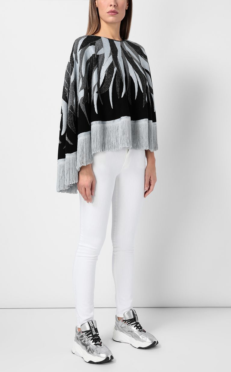 JUST CAVALLI Cape with fringed detailing Sweater Woman d