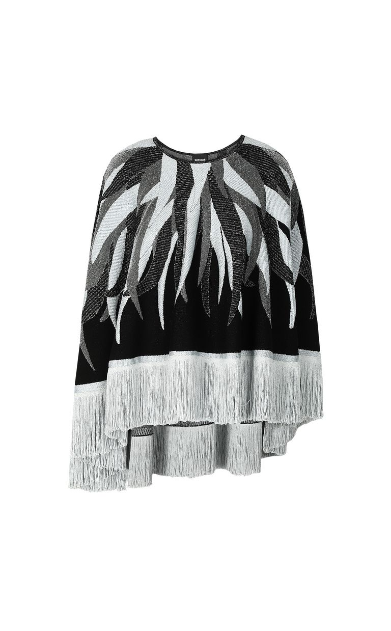 JUST CAVALLI Cape with fringed detailing Sweater Woman f