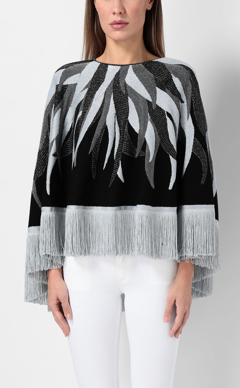 JUST CAVALLI Cape with fringed detailing Sweater Woman r
