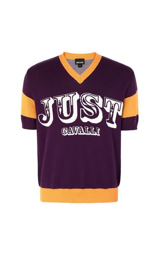 JUST CAVALLI Short sleeve sweater Man Pullover with logo f