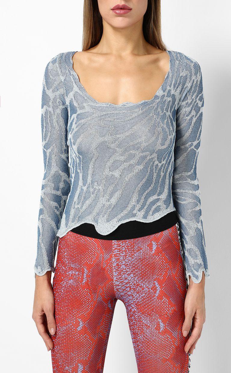JUST CAVALLI Zebra-stripe top Long sleeve sweater Woman r