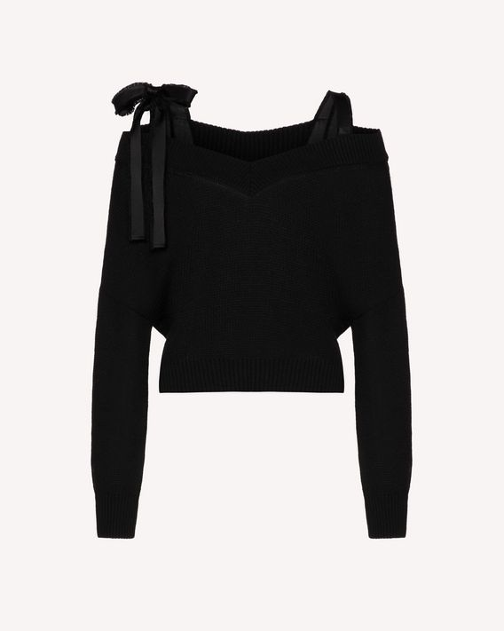 REDValentino RED BALLET Capsule - Off the shoulder cropped wool sweater