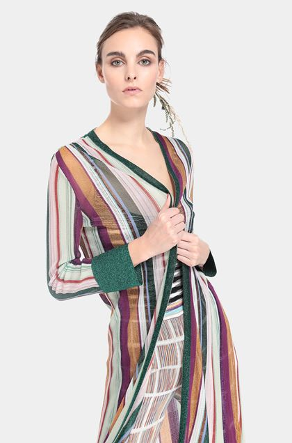 MISSONI Long cardigan Light green Woman - Front