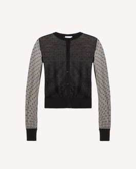 REDValentino Wool and tulle point d'esprit cardigan