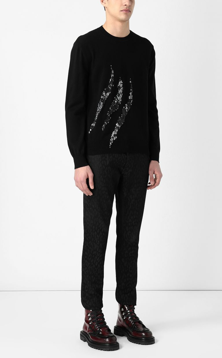 JUST CAVALLI Pullover with sequins Crewneck sweater Man d
