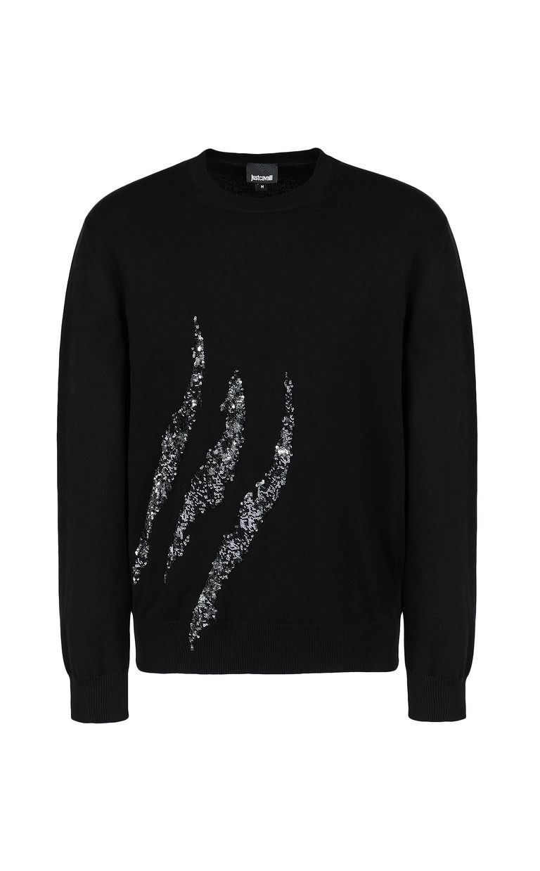 JUST CAVALLI Pullover with sequins Crewneck sweater Man f