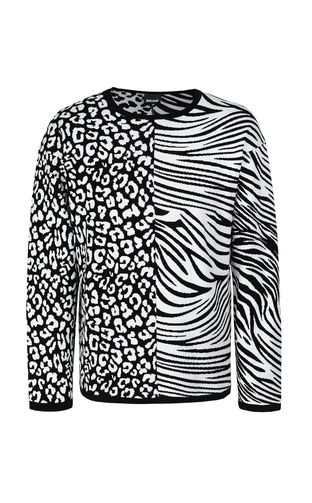 Pullover with animal patterning