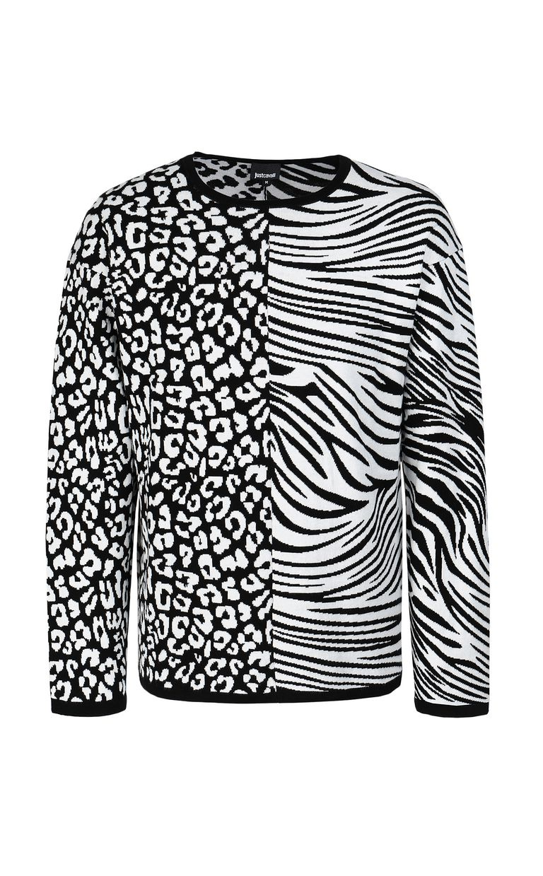 JUST CAVALLI Pullover with animal patterning Crewneck sweater Man f